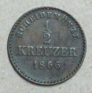 German Wurttemberg 1/2 Kreuzer 1866 Very Fine Copper Coin photo
