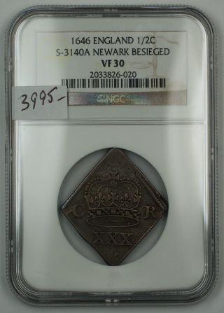 1646 England Half Crown Silver Coin S - 3140a Newark Besieged Ngc Vf - 30 Akr photo