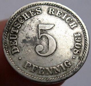 1908 - E Germany Empire 5 Pfennig Coin Km 11 photo