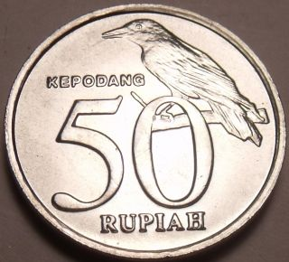 Gem Unc Indonesia 1999 50 Rupiah Spread Eagle Black - Naped Oriole photo