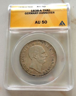1838 - A Silver Hannover German State Thaler - Anacs Au 50 photo