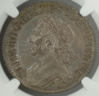 1658 England Half Crown 1/2c Silver Coin Cromwell Esc - 447 Ngc Au - 53 Akr photo