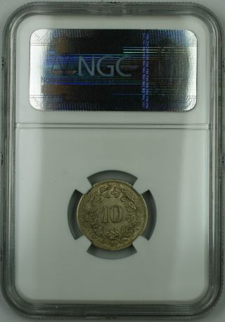 1851 Bb Switzerland 10 Rappen Coin,  Ngc Ms - 63,  Quite Scarce In This photo