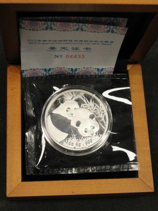 2012 China 1oz Silver Panda Medal Singapore International Coin Fair Sjcf4 photo