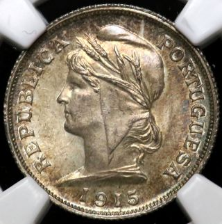 1915 Ngc Ms - 65 Ten 10 Centavos Portugal Population 3/0 None Finer photo