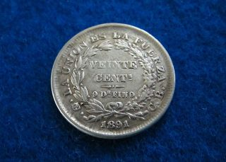 1891 Bolivia Silver 20 Centavos - Vf/xf - photo