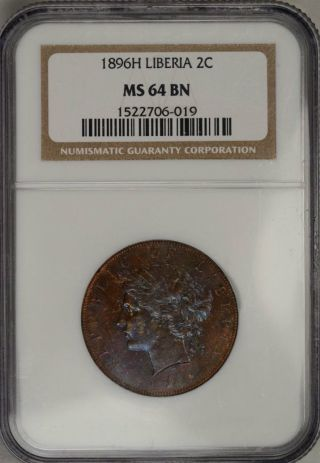 1896 H Liberia 2 Cent Official Coinage Ngc Ms64 Bn Gorgeously Toned U.  S.  Colony photo