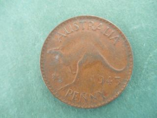 Australia 1943 Penny Coin Large Reverse - Kangaroo photo