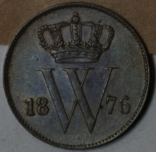 1876 Au Netherlands Copper 1 Cent (king Willem Iii) Coin photo