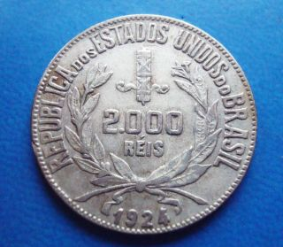 Coin Brazil Bresil 2000 Reis 1924 Silver Argent photo
