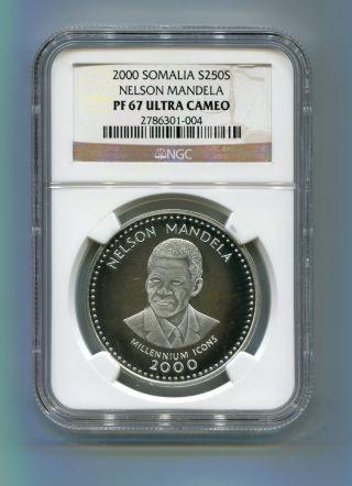 Ngc Proof 67 Somalia 2000 Nelson Mandela 25 Shillings Silver Coin - Rare Pf 67 photo