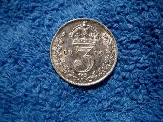 England: Scarce Silver 3 Pence:1916 Extremely Fine++++ To About Uncirculated photo