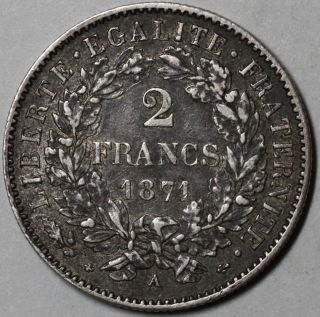 1871 - A France Silver 2 Francs (national Defense Government Issue) photo