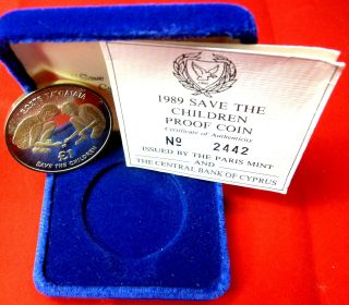 Cyprus 1989 £1silver Proof Coin,  Save The Children,  Radar No.  2442,  Official Case photo
