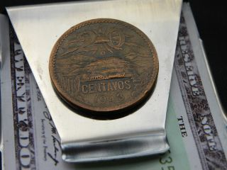 Aztec Pyramid Mexican Coin 20 Centavos Money Clip Double Side Stainles Steel photo