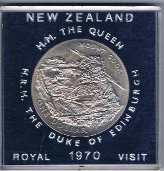 1970 Zealand Royal Visit Mount Cook Unc $1 One Dollar Crown photo