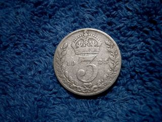 England: Scarce Silver 3 Pence:1925 About Very Fine photo