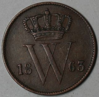 1863 Netherlands Copper 1 Cent (king Willem Iii) Coin photo