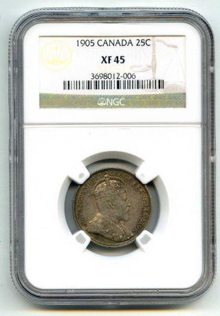 1905 Ngc Xf45 Canada 25c Quarter photo