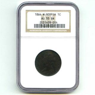 1864 Ngc Au55 Bn Nova Scotia 1c One Cent Brown photo