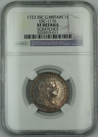 1723 Ssc Britain 1s Shilling Coin Esc - 1176 George I Ngc Xf Details Scratches Akr photo