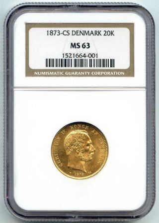 1873 Cs Ngc Ms63 Denmark Gold 20 Kroner Km 799.  1.  2593 Agw photo