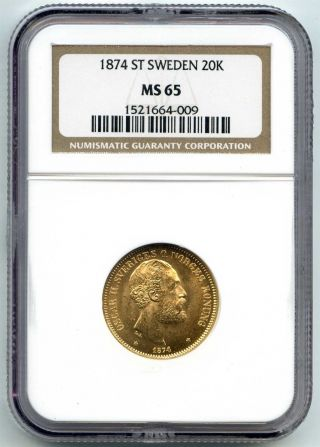 1874 St Ngc Ms65 Sweden Gold 20 Kronor photo