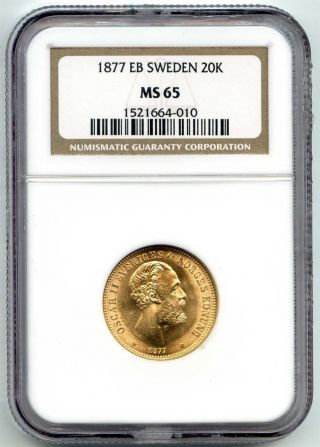 1877 Eb Ngc Ms65 Sweden Gold 20 Kronor Km 744.  2593 Agw photo