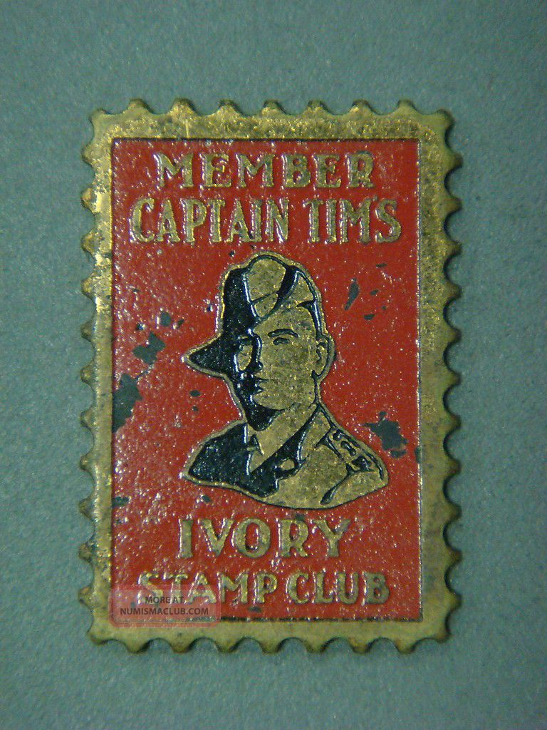 Member Captian Tims Ivory Stamp Club (pin Missing) Exonumia photo