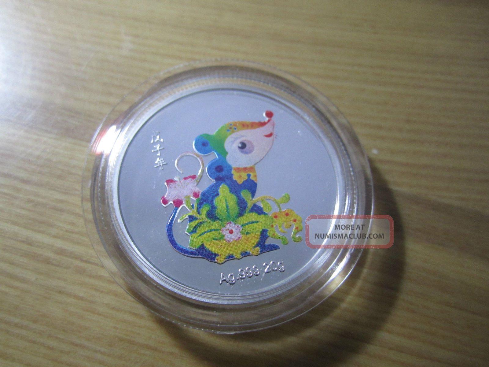 China 2008 20g Colorized Silver Medal - Year Of Rat Exonumia photo