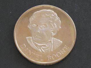 Daniel Boone Proof - Quality Solid Bronze Medal Danbury D0363 photo
