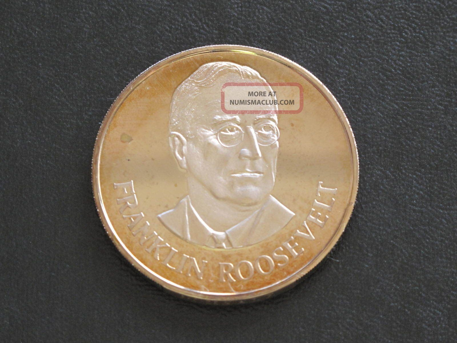 Franklin Roosevelt Proof - Quality Solid Bronze Medal Danbury D0350 Exonumia photo