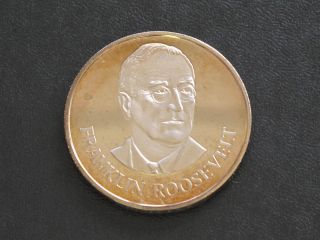 Franklin Roosevelt Proof - Quality Solid Bronze Medal Danbury D0350 photo