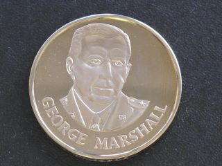 George Marshall Proof - Quality Solid Bronze Medal Danbury D0401 photo