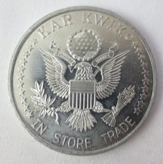 Kar Kwick Token 10 Cents 1994 In Store Trade With Us Seal Silver Color 37 Mm Dia photo
