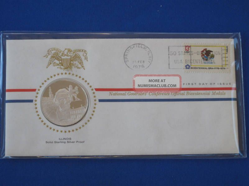 1976 Illinois Bicentennial First Day Cover Silver Franklin T1665l Exonumia photo