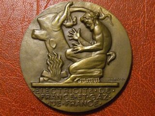 Art Deco Men From Fire Quest To Electricity Medal By Henri Dropsy photo
