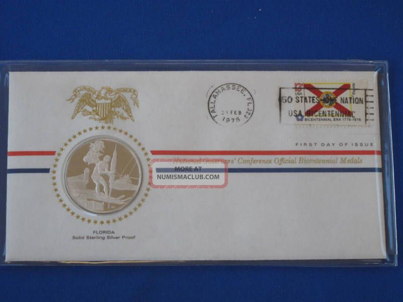 1976 Florida Bicentennial First Day Cover Silver Franklin T1669l Exonumia photo