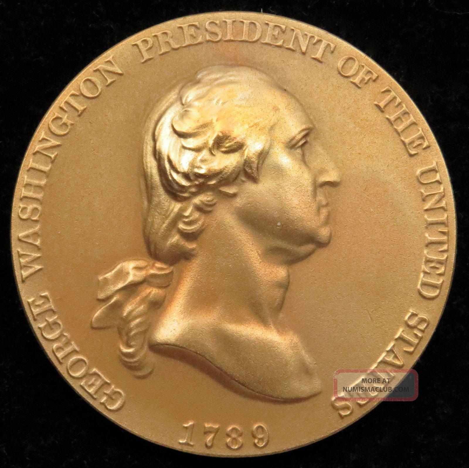 U.  S.  Medal No.  601 George Washington Time Increases His Fame Bronze Exonumia photo