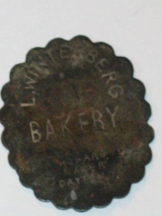 Vintage Rare L.  Winteberg Bakery Howard Maker Dayton Oh 5 Cent Loaf Brass Token photo