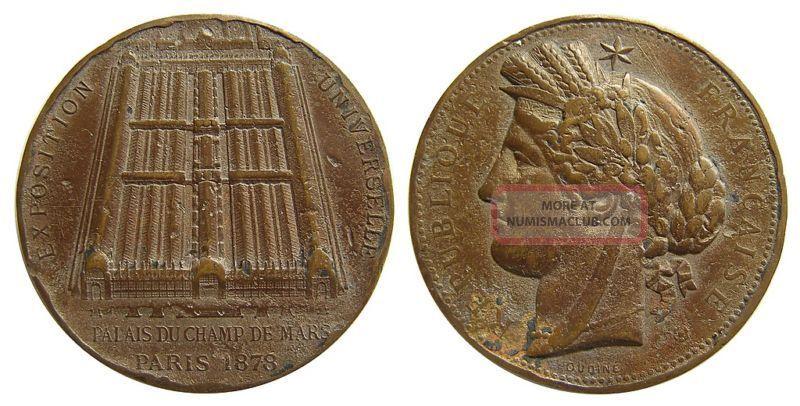 B720 France 1878 Palais Du Champ De Mars Paris Bronze Medal Exonumia photo