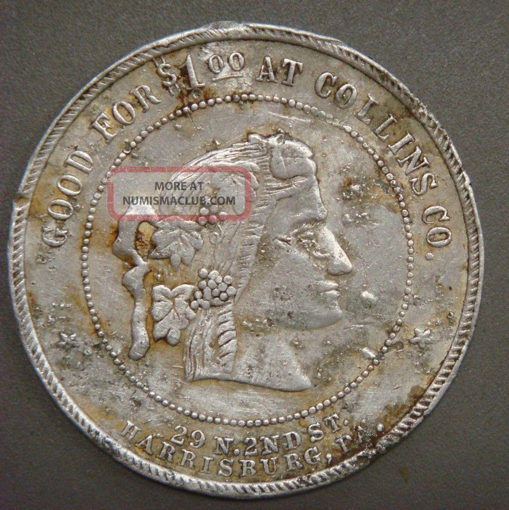 Collins Co.  $1.  00 On $10.  00 Or More,  Harrisburg,  Pa. Exonumia photo