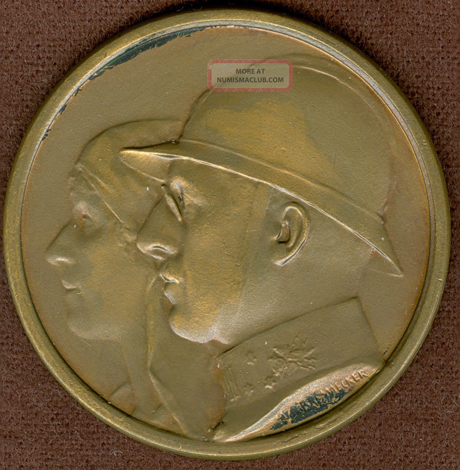 1949 Belgium Medal In Honor Of Ww1 Veteran Soldiers Society,  By E.  Bremaecker Exonumia photo