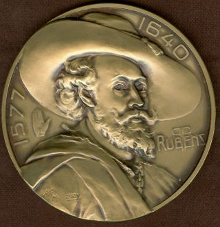 Early 20th Century Belgium Medal In Honor Of Rubens,  By Alf Mauquoy photo