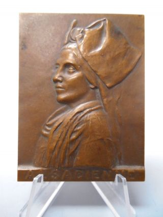 Woman Of France Medal Alsacienne Alsace By Ernesta Robert - Merignac Early 1900s photo