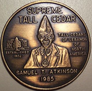 Supreme Tall Cedar Samuel T.  Atkinson 1985 - Masonic Medal photo