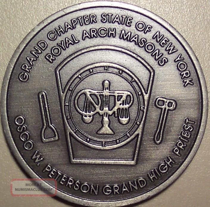 Grand Chapter State Of N.  Y.  Royal Arh Masons Osco W.  Peterson Grand High Priest Exonumia photo