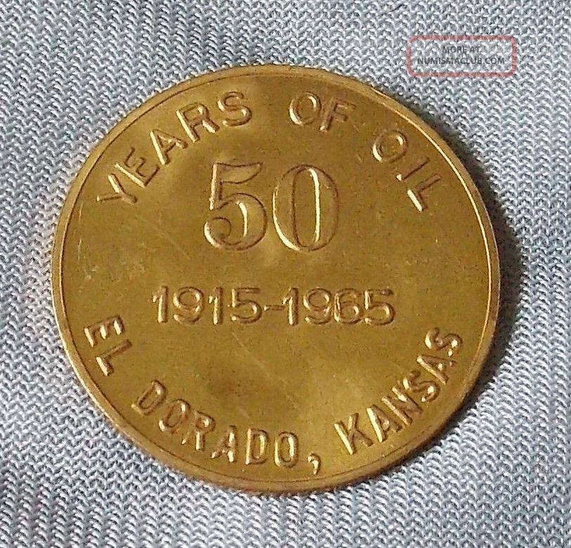 1965 Trade Token El Dorado Kansas 50 Years Of Oil Industry Anniversary Vintage Exonumia photo
