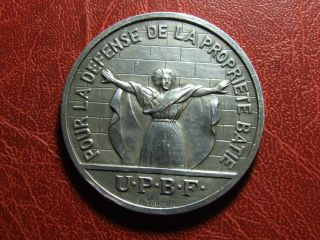 Art Deco Defense For The Constructed Buildings Silver Pl.  Medal By Ch.  Virion photo