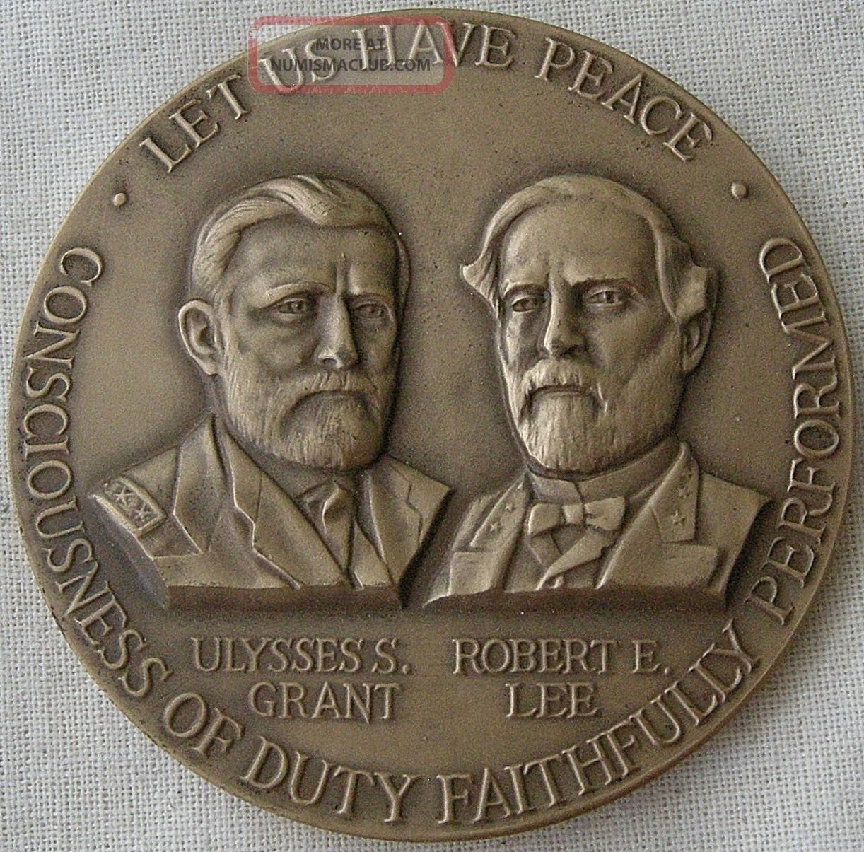 Civil War Centennial Commission,  U.  S.  Grant - R.  E.  Lee Medal,  1961 By J.  Renier Exonumia photo